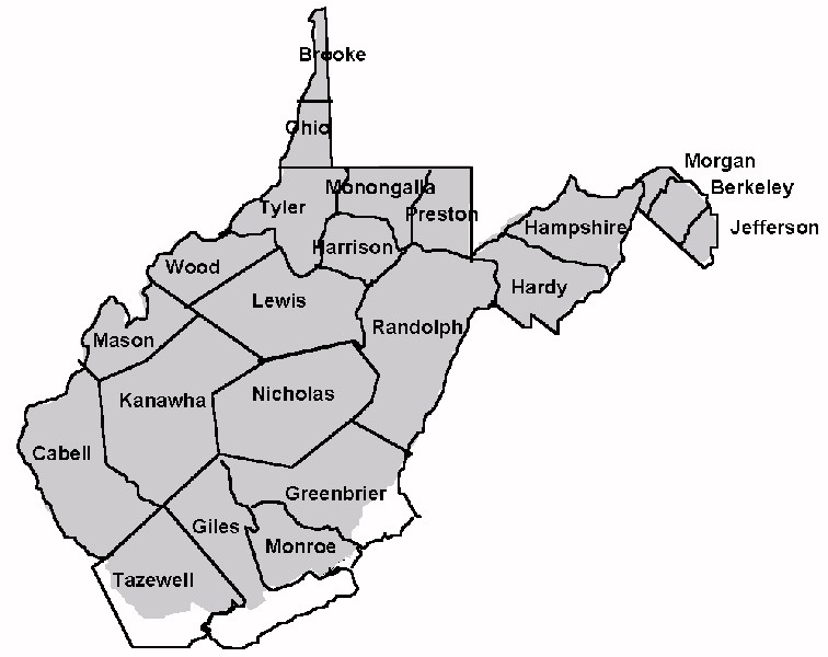 WV History - Counties of va map