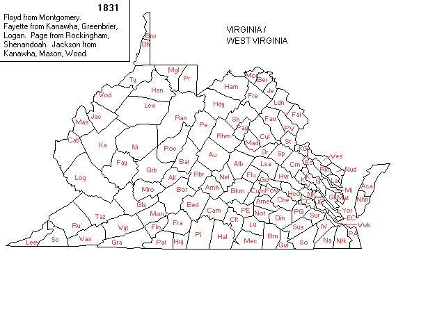 Jackson Fayette Formed Logan Formed 1824 Boundary Changes 1820 1830 Nicholas Gains From Kanawha Lewis Monroe To Giles Preston From Randolph