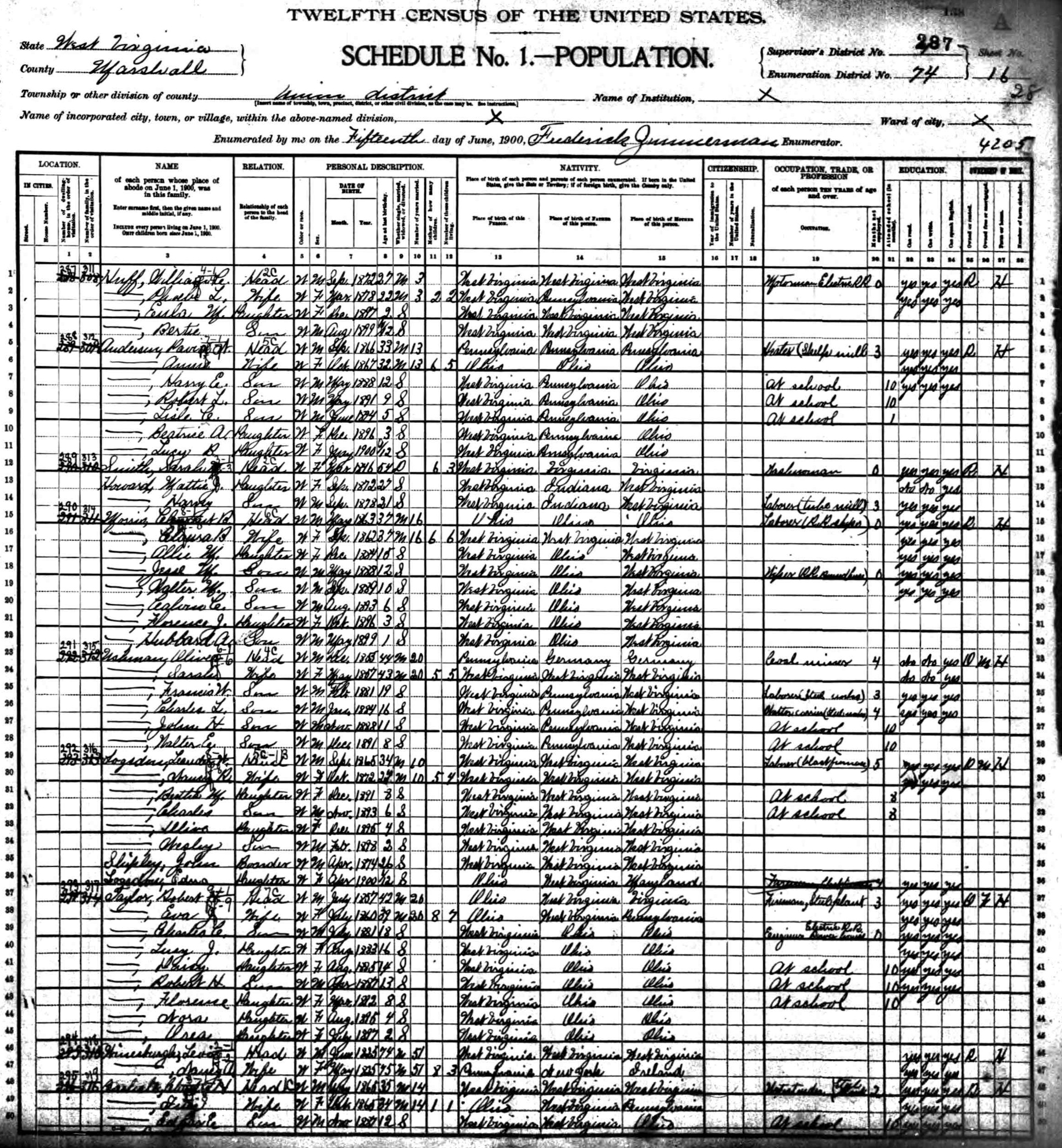 Marshall County, West Virginia 1900 Union District Census
