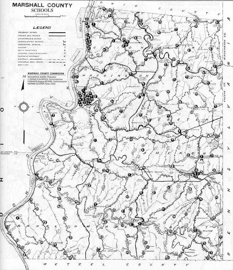 Marshall county wv schools churches cemeteries county map churches cemeteries publicscrutiny Image collections