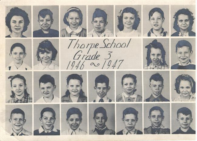 here is a picture of my mom in her 194647 thorpe school class she was teaching the third grade that year my moms name was irene e tudor and she lived